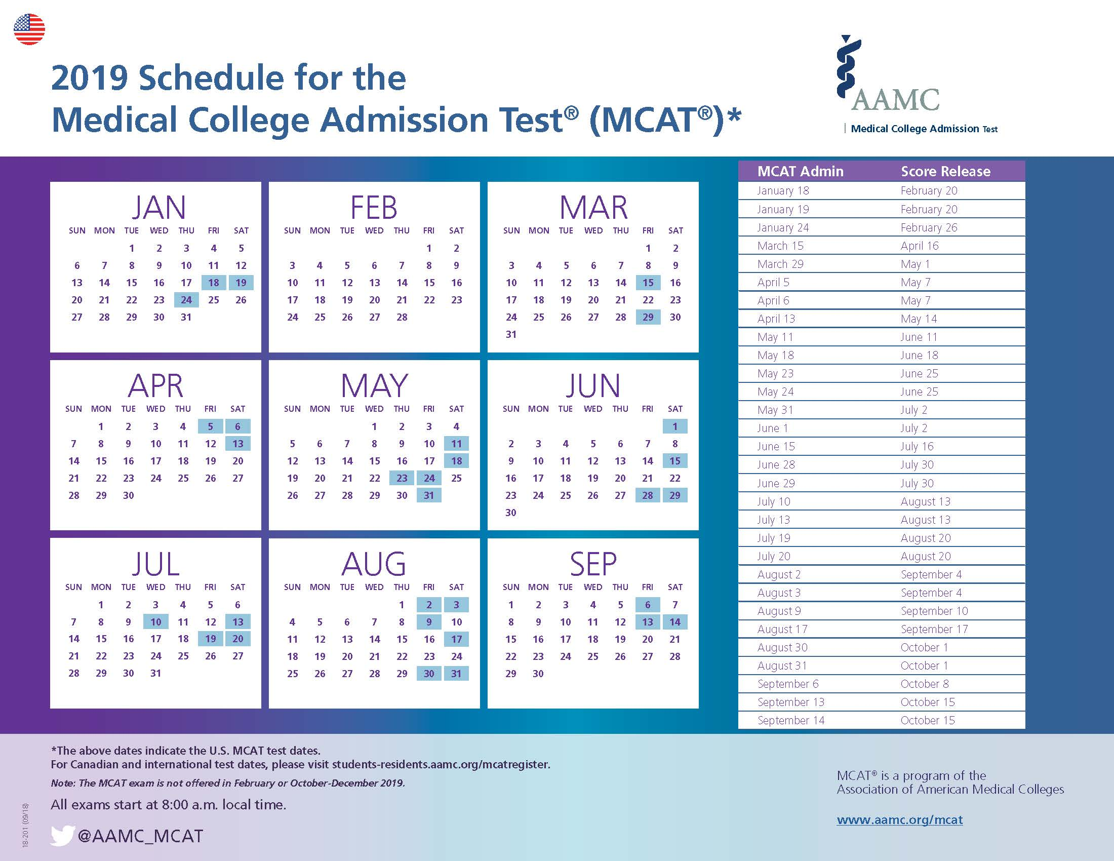 2019 MCAT Test Dates