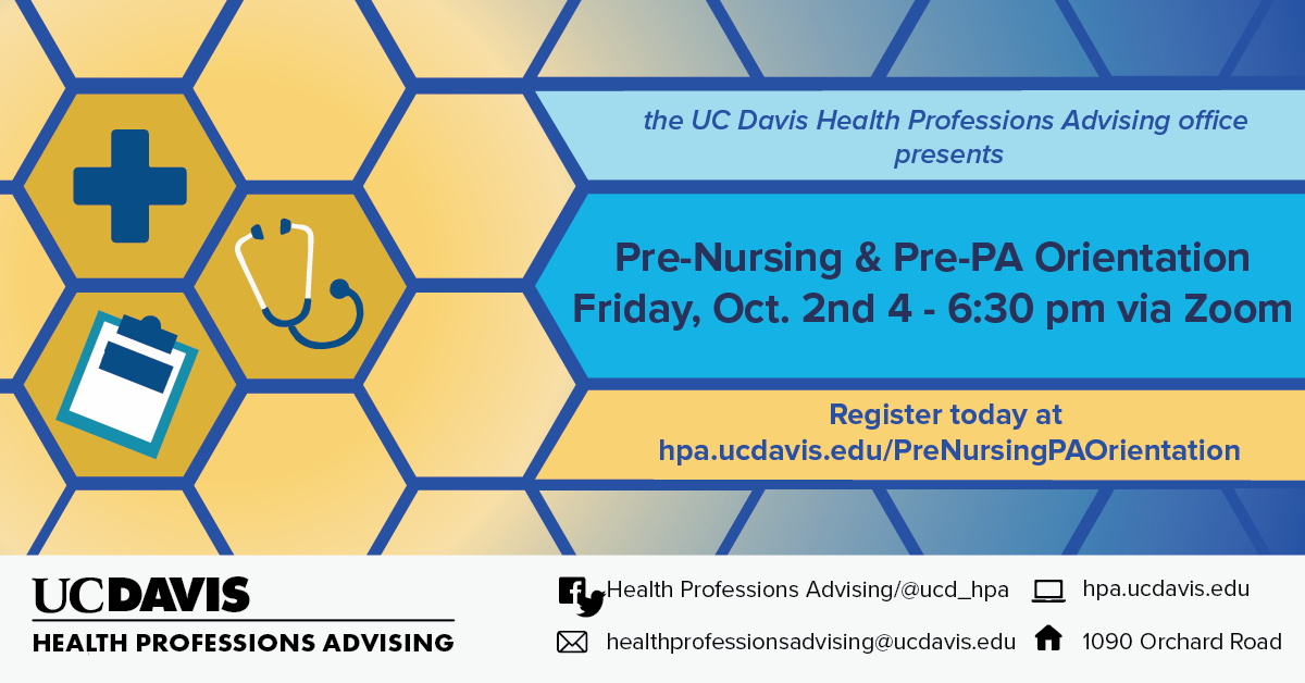 Pre-Nursing and Pre-PA Orientation banner with medical icons and details see below to read more
